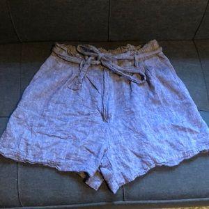 H&M Chambray Linen Paper-bag Shorts
